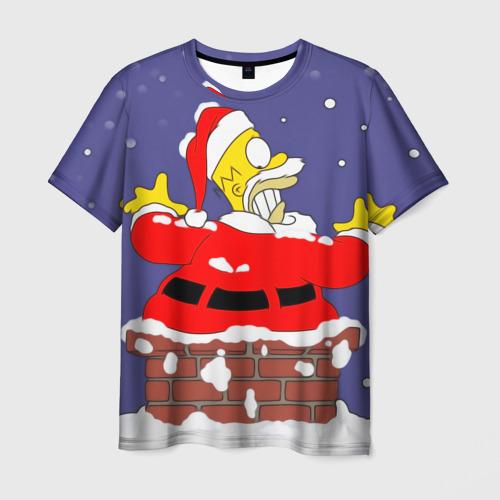 Мужская футболка 3D Симпсоны новогодние 4