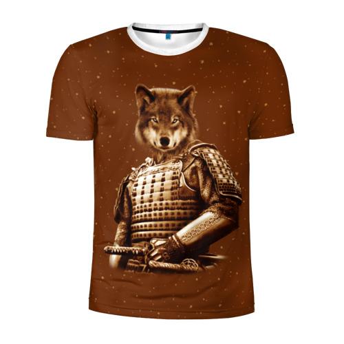 Мужская футболка 3D спортивная Волк самурай