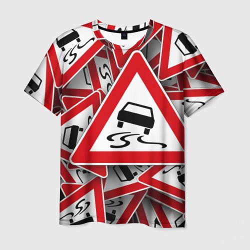 Мужская футболка 3D Дорожный знак 1