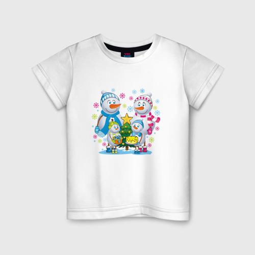 Детская футболка хлопок Снеговики. Семья. Рождество.