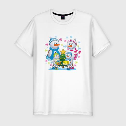 Мужская футболка хлопок Slim Снеговики. Семья. Рождество.