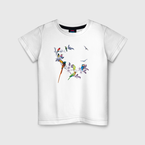 Детская футболка хлопок экзотические птицы