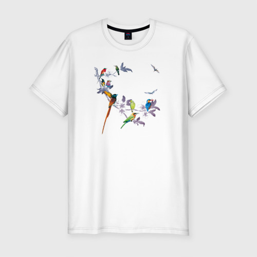 Мужская футболка хлопок Slim экзотические птицы