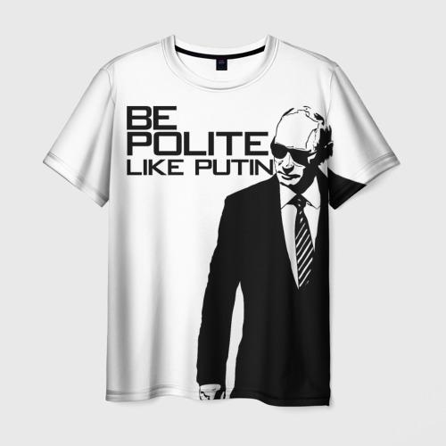 Мужская футболка 3D Вежливый Путин