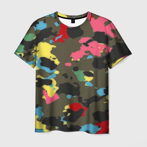 Мужская футболка 3D Цветной камуфляж