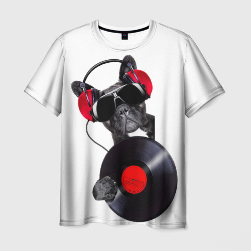 Мужская футболка 3D DJ бульдог