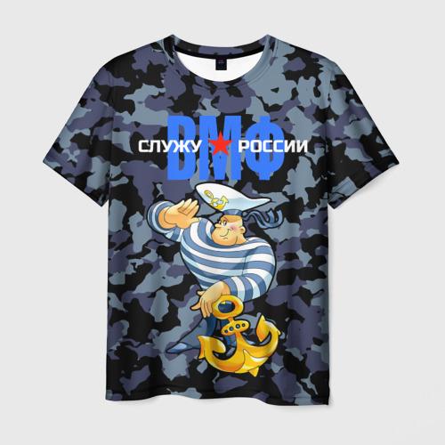 Мужская футболка 3D Служу России, ВМФ