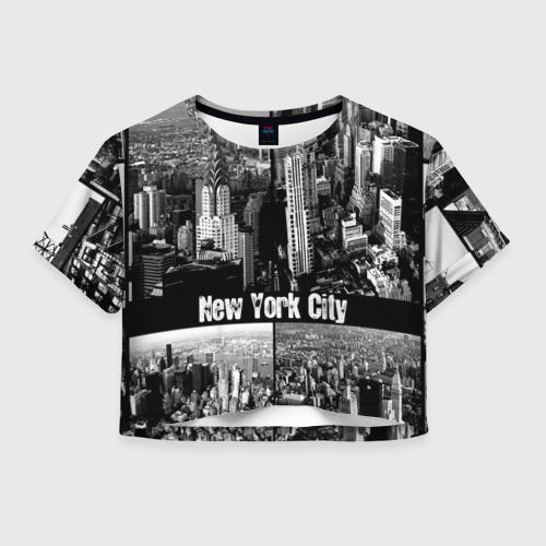 Женская футболка Crop-top 3D Улицы Нью-Йорка
