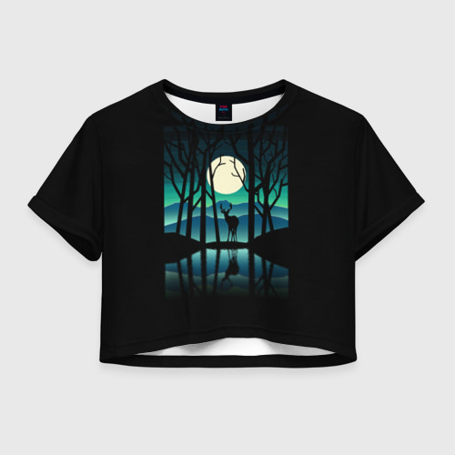 Женская футболка Crop-top 3D Ночная природа