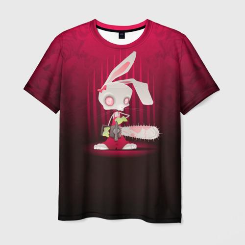 Мужская футболка 3D Заяц с бензопилой
