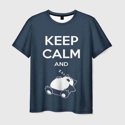 Мужская футболка 3D Keep calm and zzz