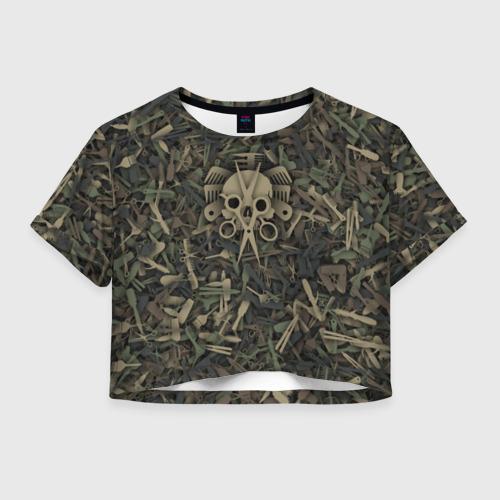 Женская футболка Crop-top 3D Сумасшедший парикмахер
