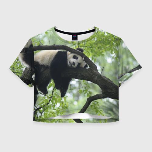 Женская футболка Crop-top 3D Панда спит на ветке