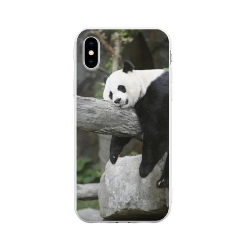 Чехол для iPhone X матовый Большая уставшая панда