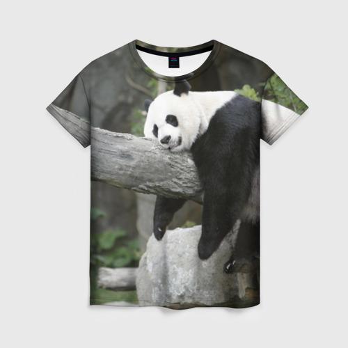 Женская футболка 3D Большая уставшая панда