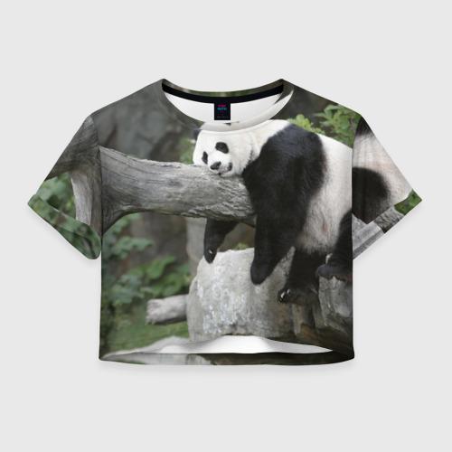 Женская футболка Crop-top 3D Большая уставшая панда