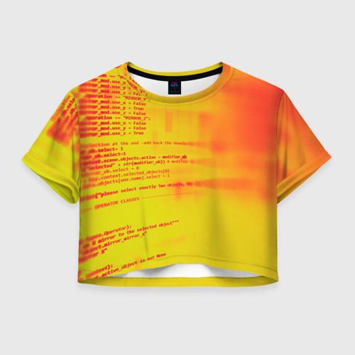 Женская футболка Crop-top 3D Компьютерный код