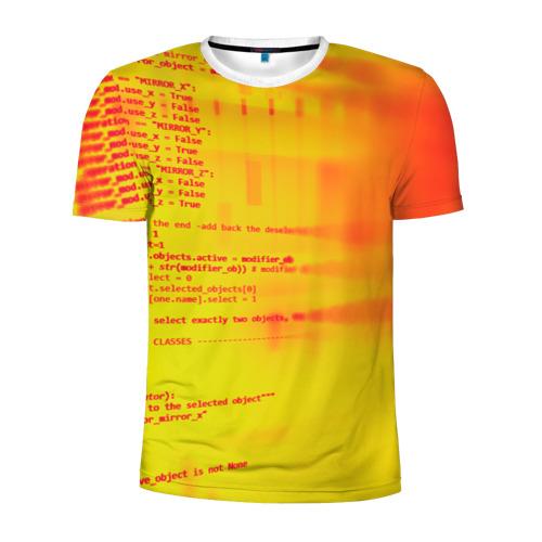 Мужская футболка 3D спортивная Компьютерный код