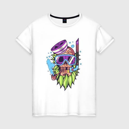 Женская футболка хлопок Скелет подводник