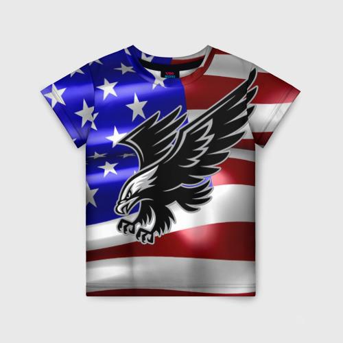 Детская футболка 3D Флаг США с орлом