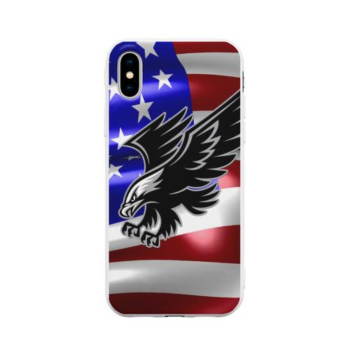 Чехол для iPhone X матовый Флаг США с орлом