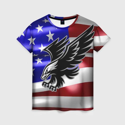 Женская футболка 3D Флаг США с орлом