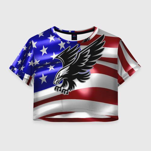 Женская футболка Crop-top 3D Флаг США с орлом