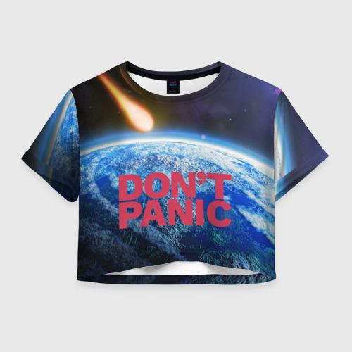 Женская футболка Crop-top 3D Без паники, метеорит