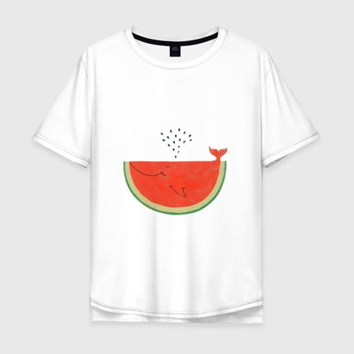 Мужская футболка хлопок Oversize Кит Арбуз