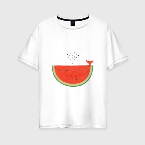 Женская футболка хлопок Oversize Кит Арбуз