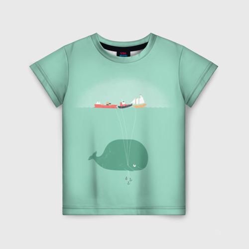Детская футболка 3D Кит с корабликами