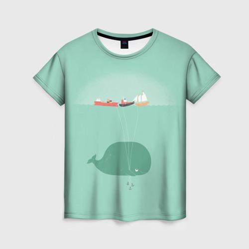 Женская футболка 3D Кит с корабликами