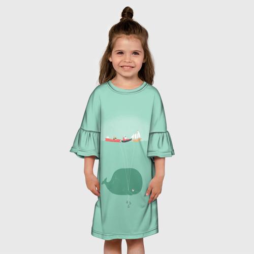 Детское платье 3D Кит с корабликами