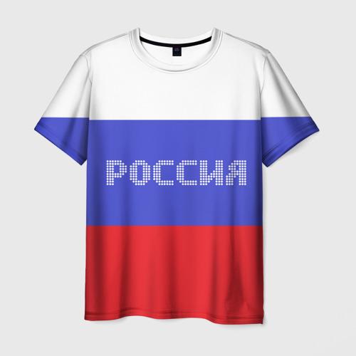 Мужская футболка 3D Флаг России с надписью