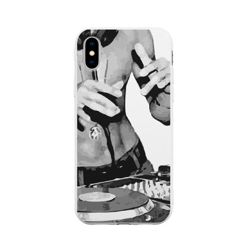 Чехол для iPhone X матовый Брюс Ли Dj