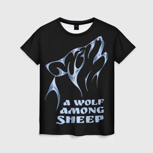 Женская футболка 3D Волк среди овец