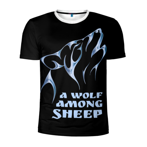 Мужская футболка 3D спортивная Волк среди овец