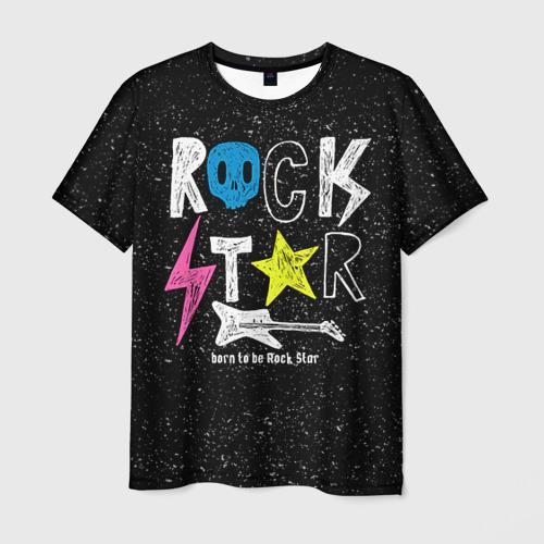 Мужская футболка 3D Рождён быть рок-звездой
