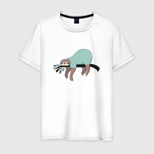 Мужская футболка хлопок Ленивец спит