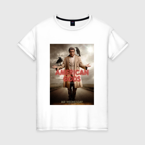 Женская футболка хлопок Американские Боги 1