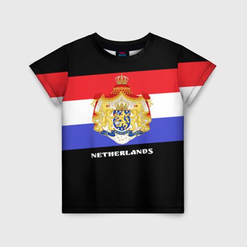 Детская футболка 3D Флаг и герб Нидерланды