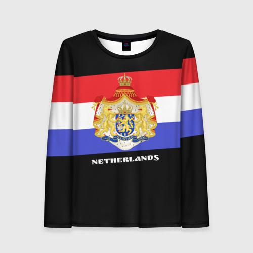 Женский лонгслив 3D Флаг и герб Нидерланды