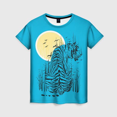 Женская футболка 3D тигр