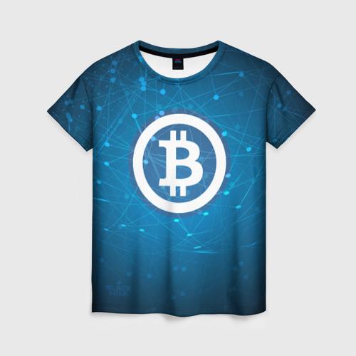 Женская футболка 3D Bitcoin Blue - Биткоин