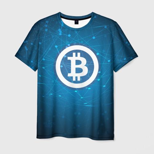 Мужская футболка 3D Bitcoin Blue - Биткоин
