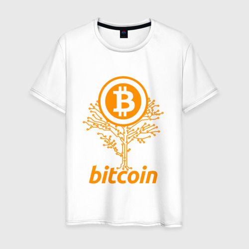 Мужская футболка хлопок Bitcoin Tree - Дерево Биткоин