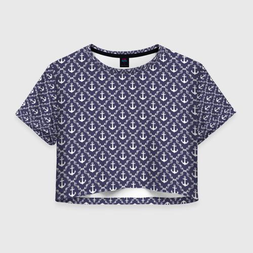 Женская футболка Crop-top 3D Якори