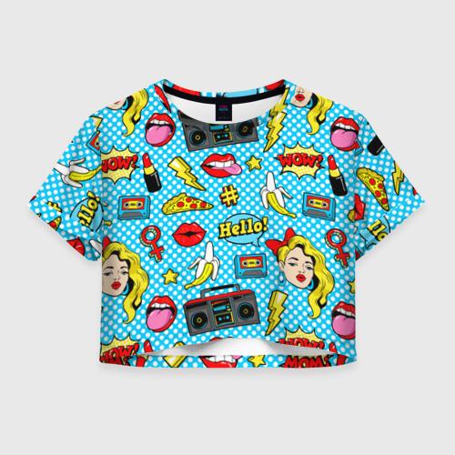 Женская футболка Crop-top 3D Девочка из комикса