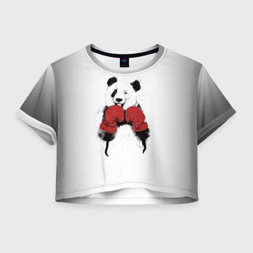 Женская футболка Crop-top 3D Панда боксер