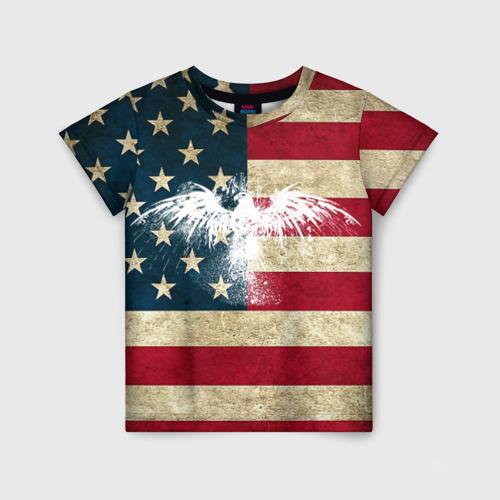 Детская футболка 3D Флаг США с белым орлом